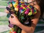 Радужные Разноцветные Синие розы объявление продам