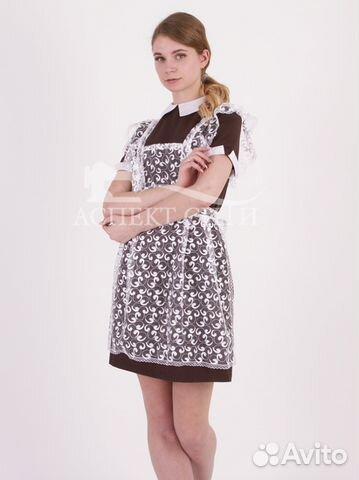 ad5c1e9aa31 Коричневое платье и белый гипюровый фартук