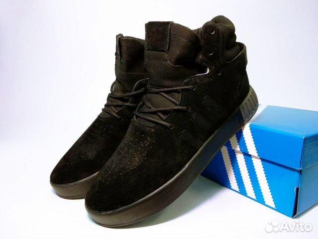 Зимние Кроссовки Adidas Tubular черные с мехом купить в Москве на ... 66835ff8e1d