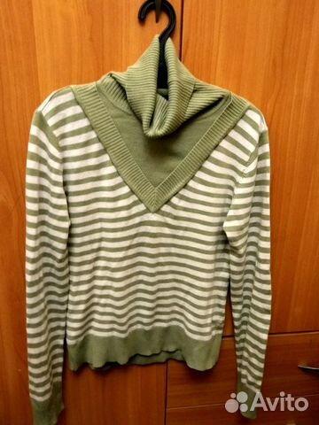 c0c92b899aa Зелёная кофта в полоску с горлышком тёплая свитер
