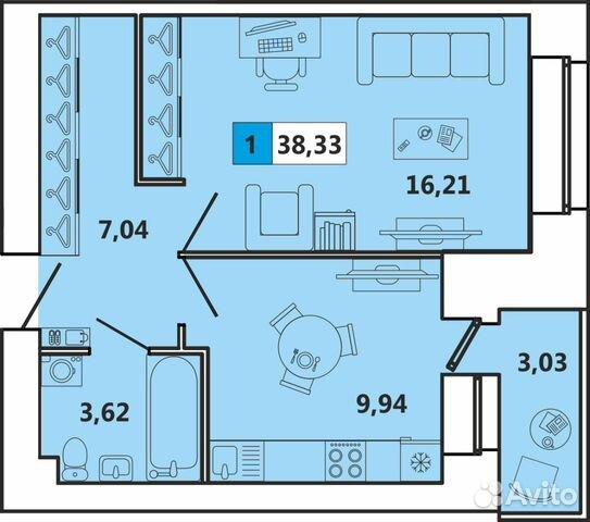 1-к квартира, 38 м², 5/5 эт. 88182464159 купить 1