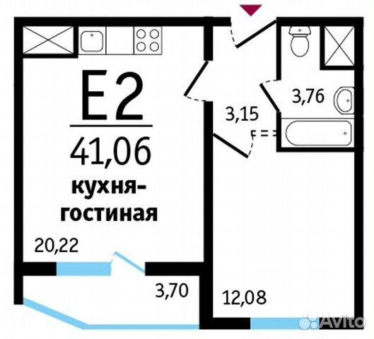 1-к квартира, 41 м², 7/19 эт.