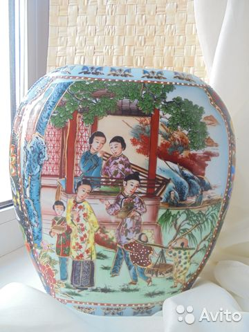 Ваза Китай костяной фарфор роспись позолота  89105009779 купить 1