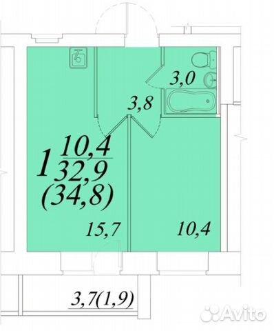 1-к квартира, 35 м², 3/12 эт.  купить 2